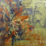Spiritual Encounter, mixed media and resin, 24 x 24 in. image.  Available at Old Europe Coffee House, Asheville, NC