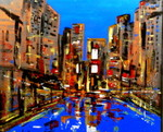 City Lights, mixed media and resin, 24 x 24 in. image.  Available at Crossnore Fine Art Gallery, Crossnore, NC
