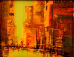 City Experience, mixed media and resin, 8 x 10 in. image.  Available, contact artist.